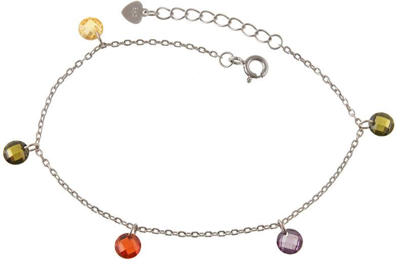 Srebrna bransoletka 925 z kolorowymi cyrkoniami 1,9 g