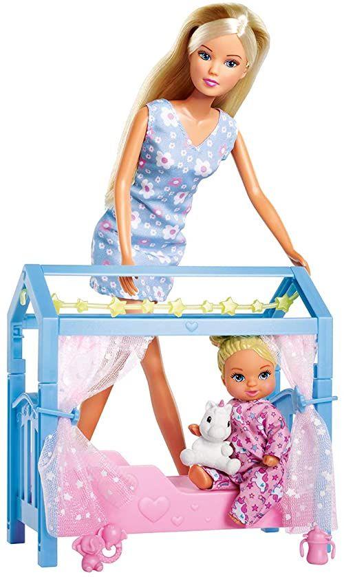 Steffi Love Sweet Dreams / lalka ze słodkim niemowlęciem i łóżeczkiem dziecięcym / z funkcją Glow in the Dark / 12 części / 29 cm / dla dzieci od 3 lat