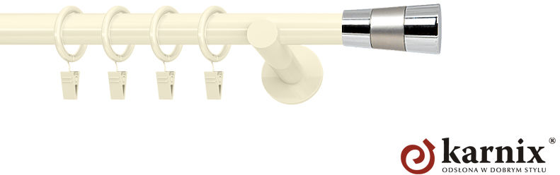 Karnisze nowoczesne NEO pojedynczy 19mm Doris ivory (kość słoniowa)