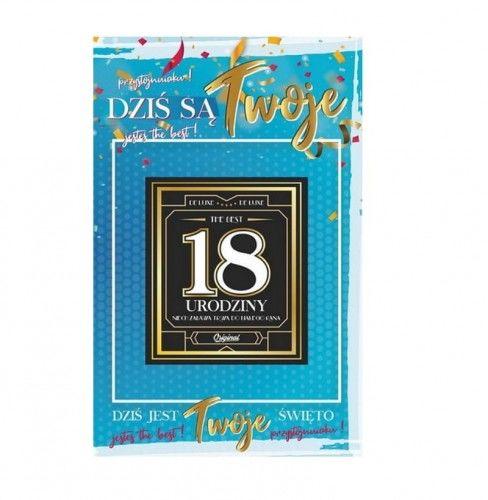 Karnet na 18 urodziny z naklejką na butelkę, niebieski