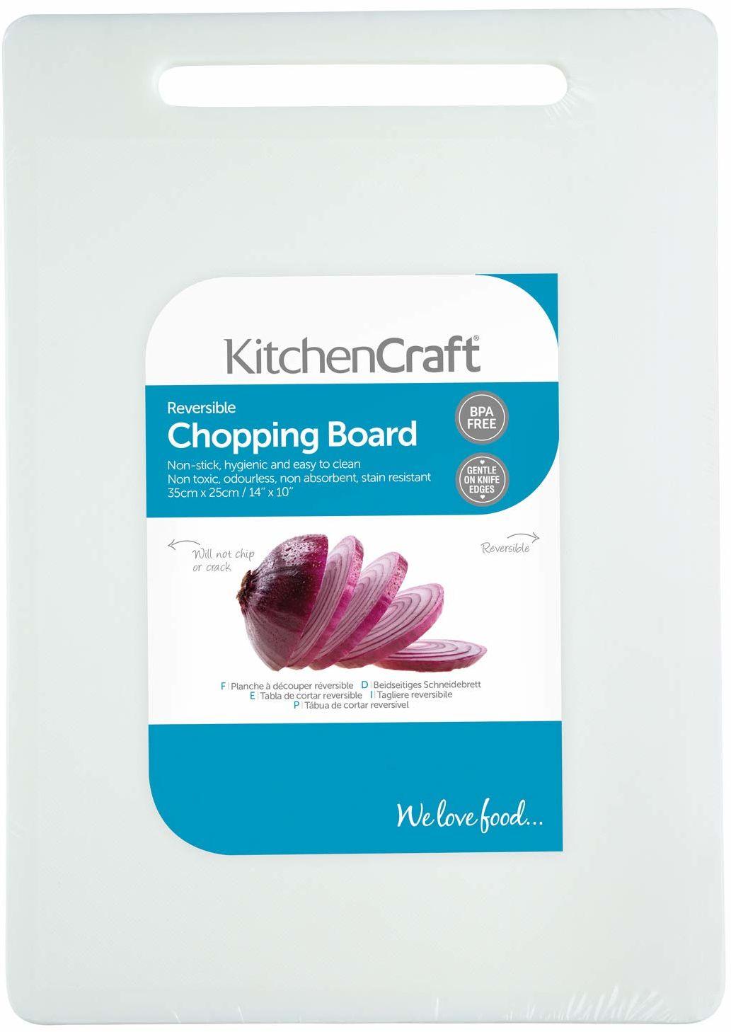 KitchenCraft duża nietoksyczna plastikowa deska do krojenia 35 x 25 cm (14 x 10 cali) - biała