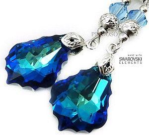 Kryształy KOLCZYKI AQUA BLUE SREBRO