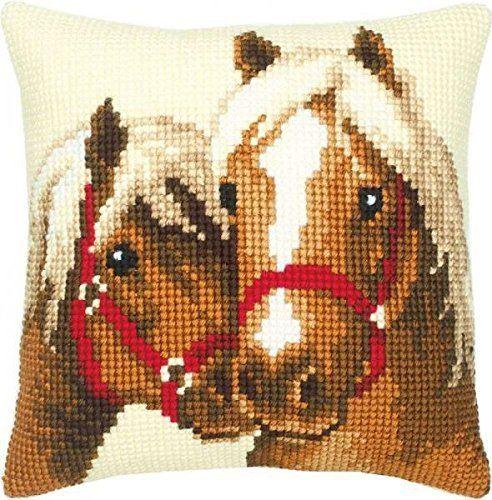 Vervaco konie poduszka z haftem krzyżykowym, wielokolorowa