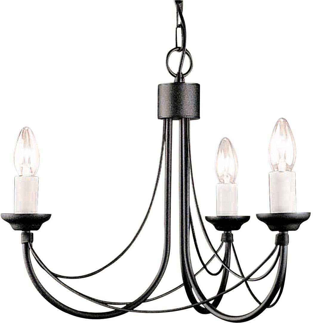 Lampa wisząca Carisbrooke CB3 BLK Elstead Lighting czarna oprawa w dekoracyjnym stylu