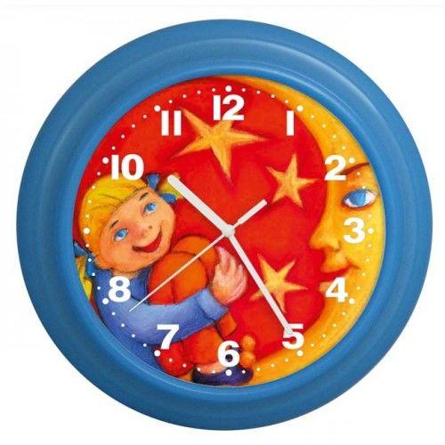 Zegar kolorowy dziewczynka i księżyc