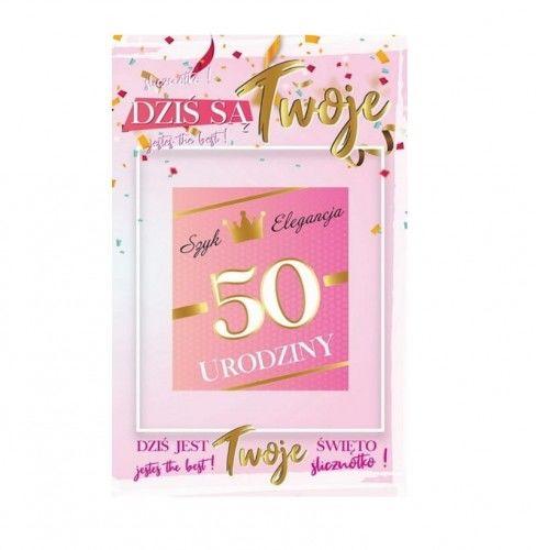 Karnet na 50 urodziny z naklejką na butelkę, różowy