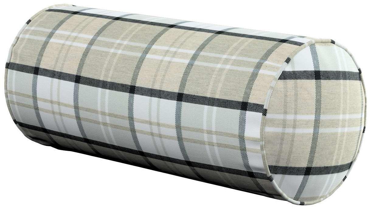 Poduszka wałek prosty, szaro-beżowa krata, Ø16  40 cm, Bristol