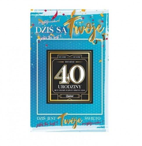Karnet na 40 urodziny z naklejką na butelkę, niebieski