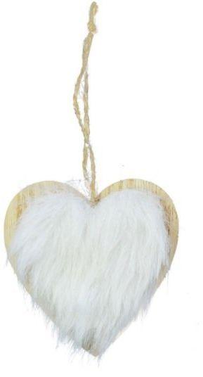 Zawieszka na choinkę drewniana serce z białym futerkiem 1szt. BD8079S