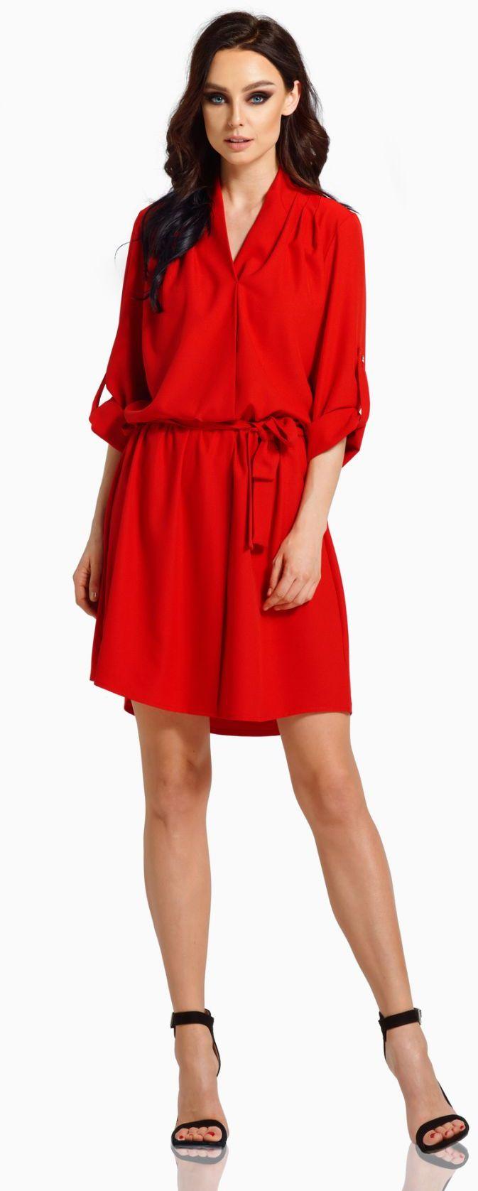 Koszulowa sukienka z kopertowym dekoltem z paskiem L300 czerwony