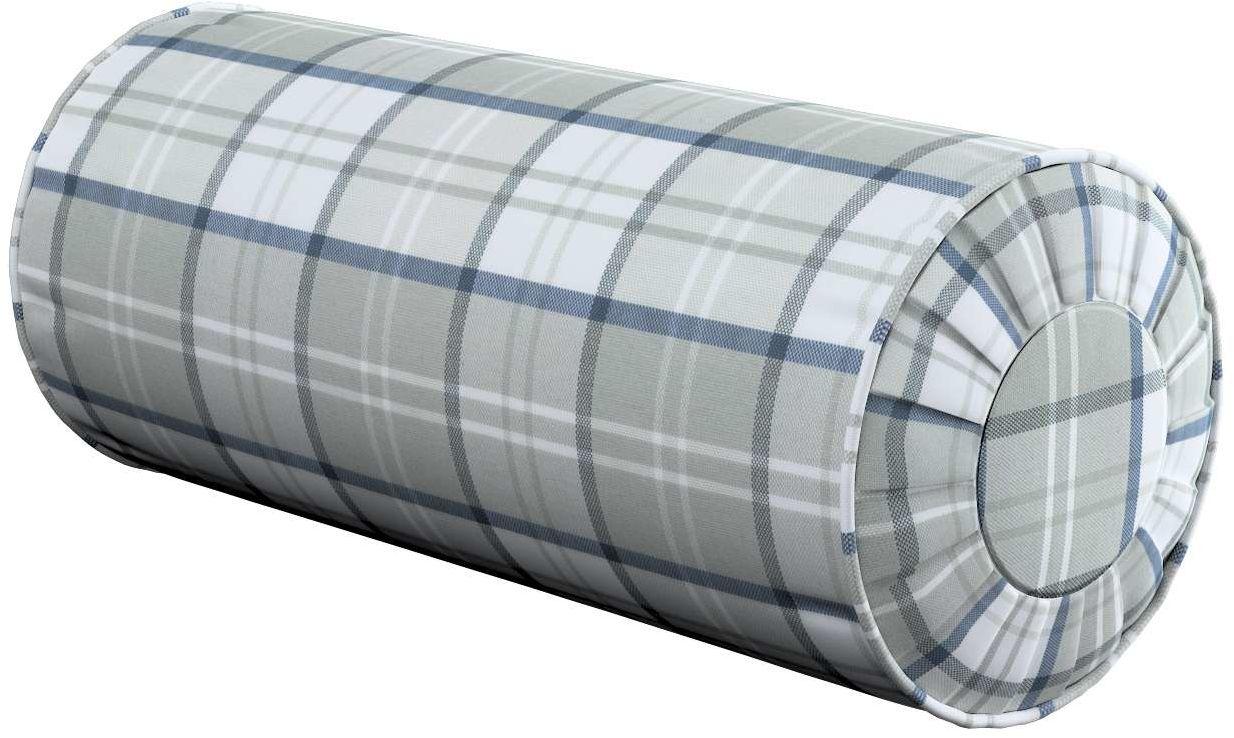 Poduszka wałek z zakładkami, szaro - niebieska krata na białym tle, Ø20  50 cm, Bristol
