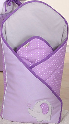 MAMO-TATO Rożek niemowlęcy haftowany Słonik fioletowy