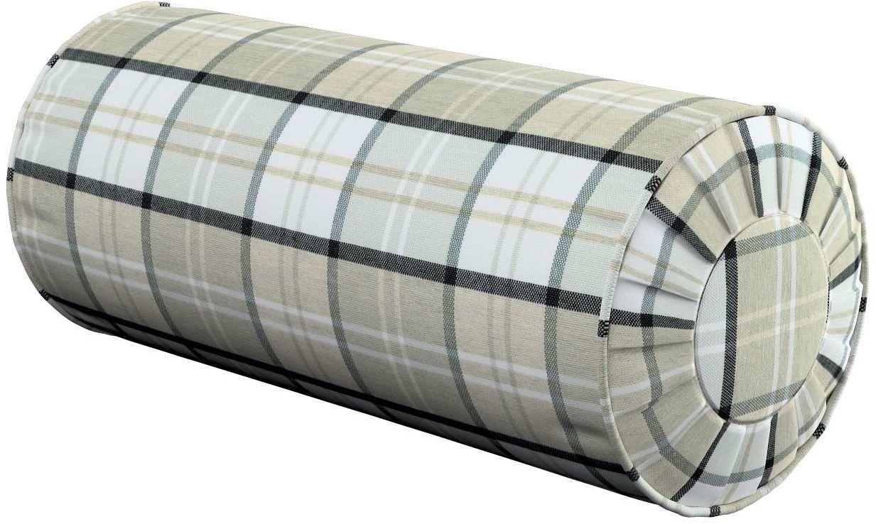 Poduszka wałek z zakładkami, szaro-beżowa krata, Ø20  50 cm, Bristol