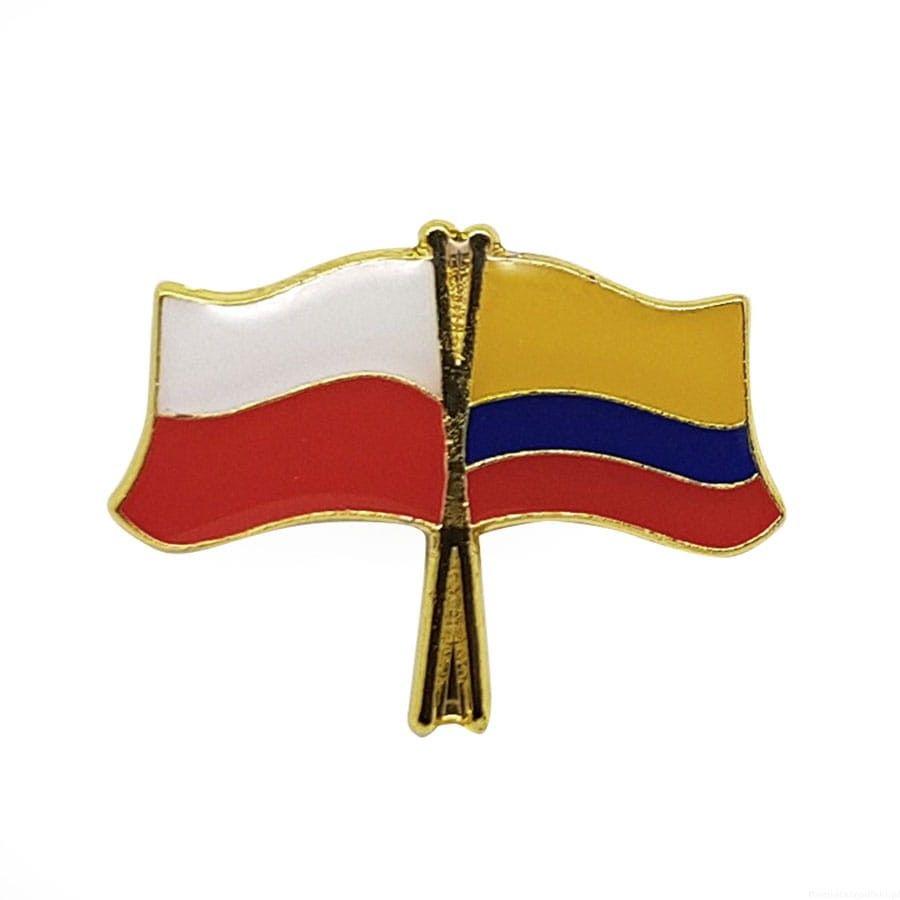 Flaga Polska-Kolumbia - przypinka