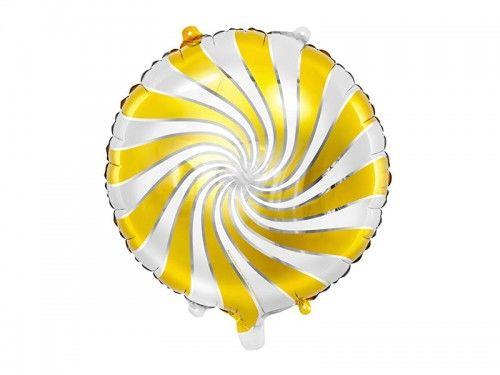 Balon foliowy Cukierek, biało-złoty