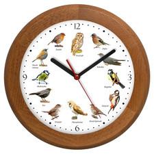Zegar z głosami ptaków drewniany rondo #2