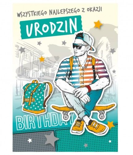 Karnet 3D na urodziny, Chłopak na deskorolce, przestrzenny