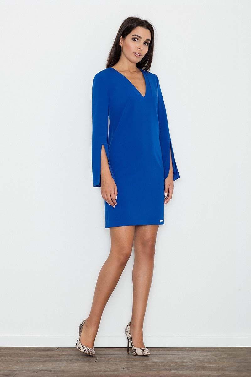 Niebieska Sukienka Koktajlowa Mini z Rozciętym Rękawem
