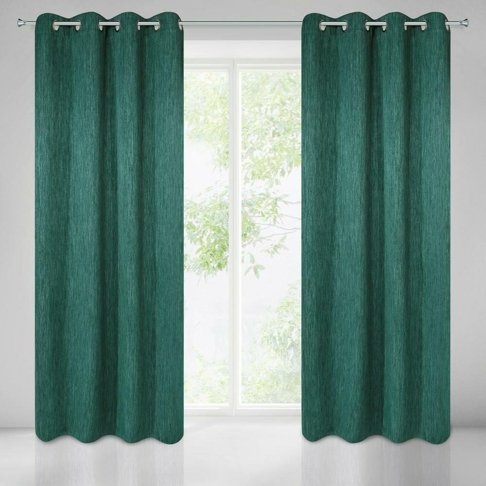 Zasłona gotowa na przelotkach 135x250 zielona ciemna z grubszej tkaniny Rossie Eurofirany