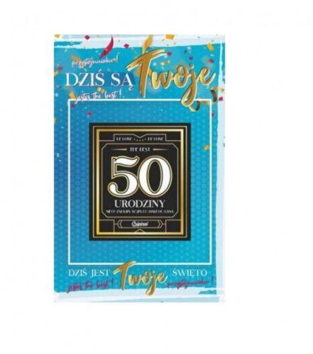 Karnet na 50 urodziny z naklejką na butelkę, niebieski