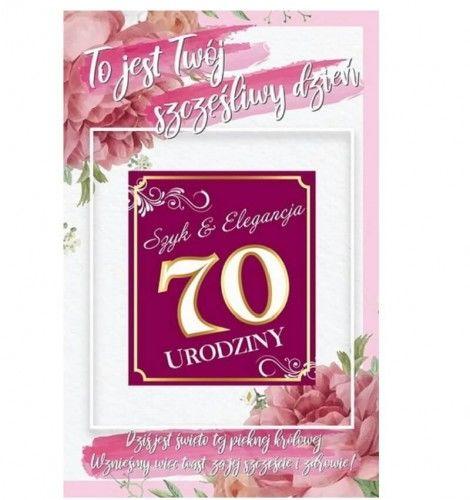 Karnet na 70 urodziny z naklejką na butelkę, różowy