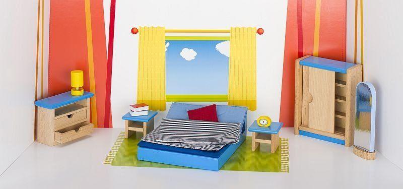Meble dla lalek, sypialnia z łóżkiem małżeńskim, goki