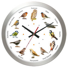 Zegar aluminiowy z głosami 12 ptaków #2