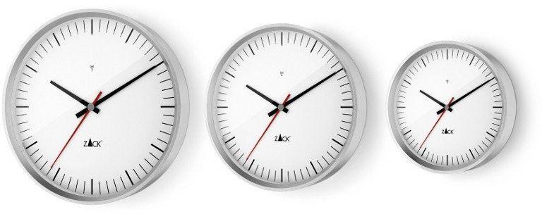 Zack - zegar ścienny sterowany radiowo 30 cm - biały - stal nierdzewna matowa - 30,00 cm