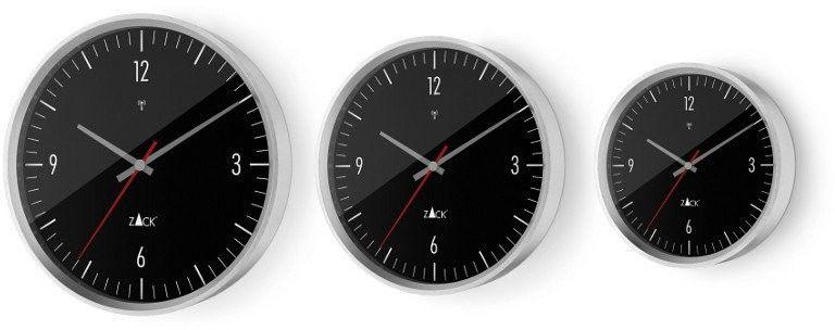 Zack - zegar ścienny sterowany radiowo 24 cm - czarny - stal nierdzewna matowa - 24,00 cm