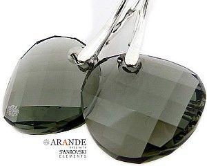 SWAROVSKI piękne kolczyki BLACK DIAMOND SREBRO