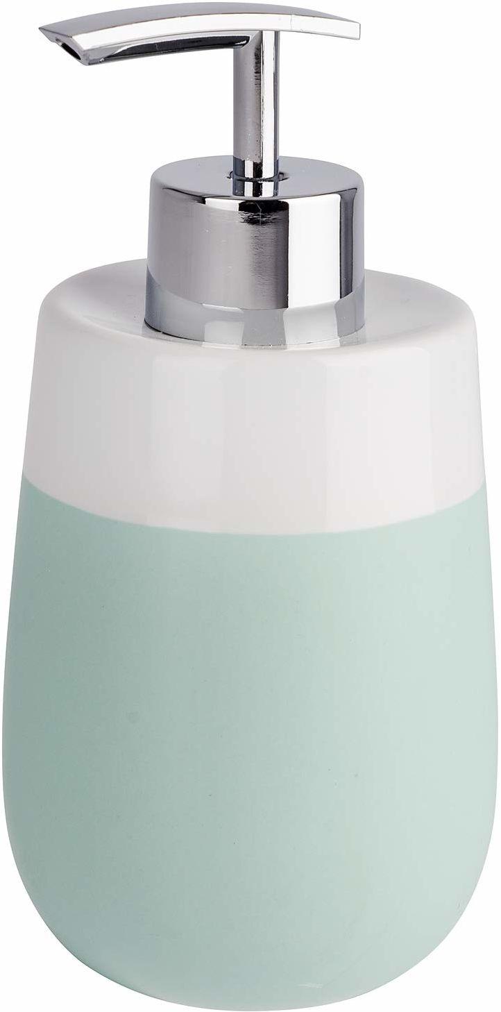 WENKO Malta dozownik mydła w płynie, miętowy/biały, pojemność dozownika płynu do mycia naczyń: 0,3 l, ceramika, 7,5 x 15 x 8 cm, miętowa zieleń