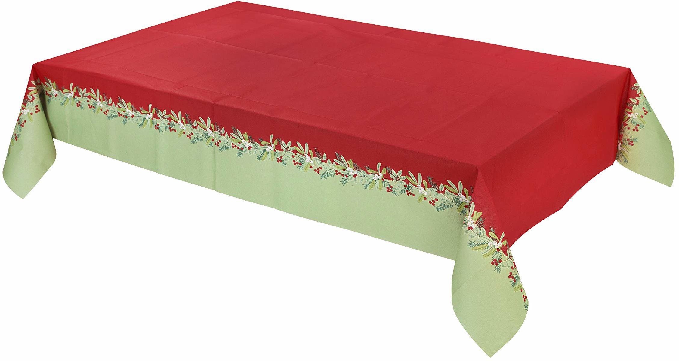 Rozmawiające stoły Boże Narodzenie dekoracje na przyjęcie papierowy obrus obrus pokrowiec botaniczny jagody jednorazowy, 180 x 120 cm, czerwony zielony