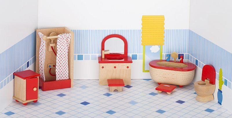 Meble dla lalek, łazienka czerwona, goki