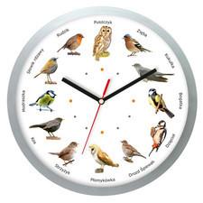 Zegar z głosami ptaków plastik srebrny #2