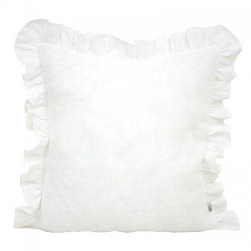 Poszewka dekoracyjna - Biały len z falbanką