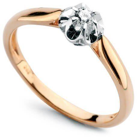 Złoty pierścionek PXD0498 - Diament