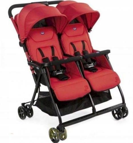 Chicco OHlala Twin wózek spacerowy podwójny super lekki 8 kg + pałąk + folia Paprika