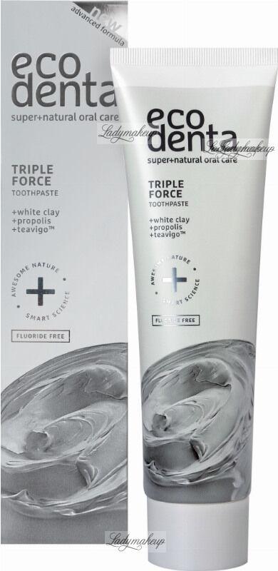 ECODENTA - TRIPLE FORCE TOOTHPASTE - Pasta do zębów o potrójnym działaniu bez fluoru - 100 ml