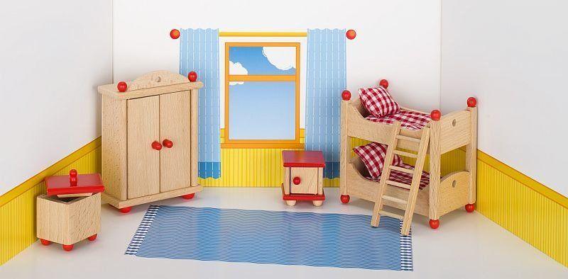Meble dla lalek, pokój dziecka czerwony, goki
