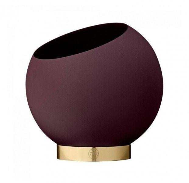 Aytm GLOBE Donica do Kwiatów 17 cm Ciemnoczerwona Bordeaux na Złotej Podstawie
