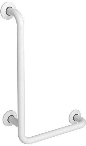 Uchwyt do łazienki dla niepełnosprawnych kątowy lewy fi 32 80 x 40 cm Faneco stal biała