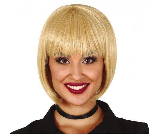 Peruka damska, blond bob z grzywką