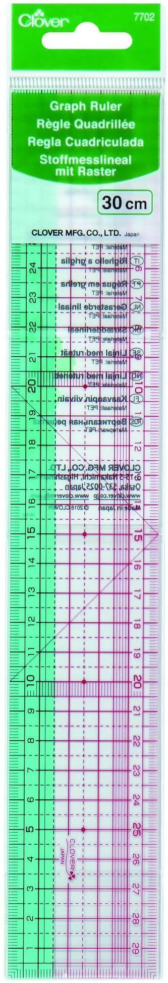 Clover 877702 elastyczna linijka do pomiaru materiału, tworzywo sztuczne, kolorowa, 30 cm