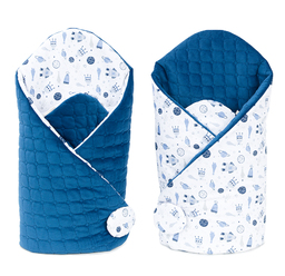MAMO-TATO Rożek niemowlęcy dwustronny Velvet Kosmos / granatowy