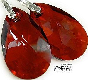 OKAZJA SWAROVSKI NOWE piękne kolczyki RED MAGMA