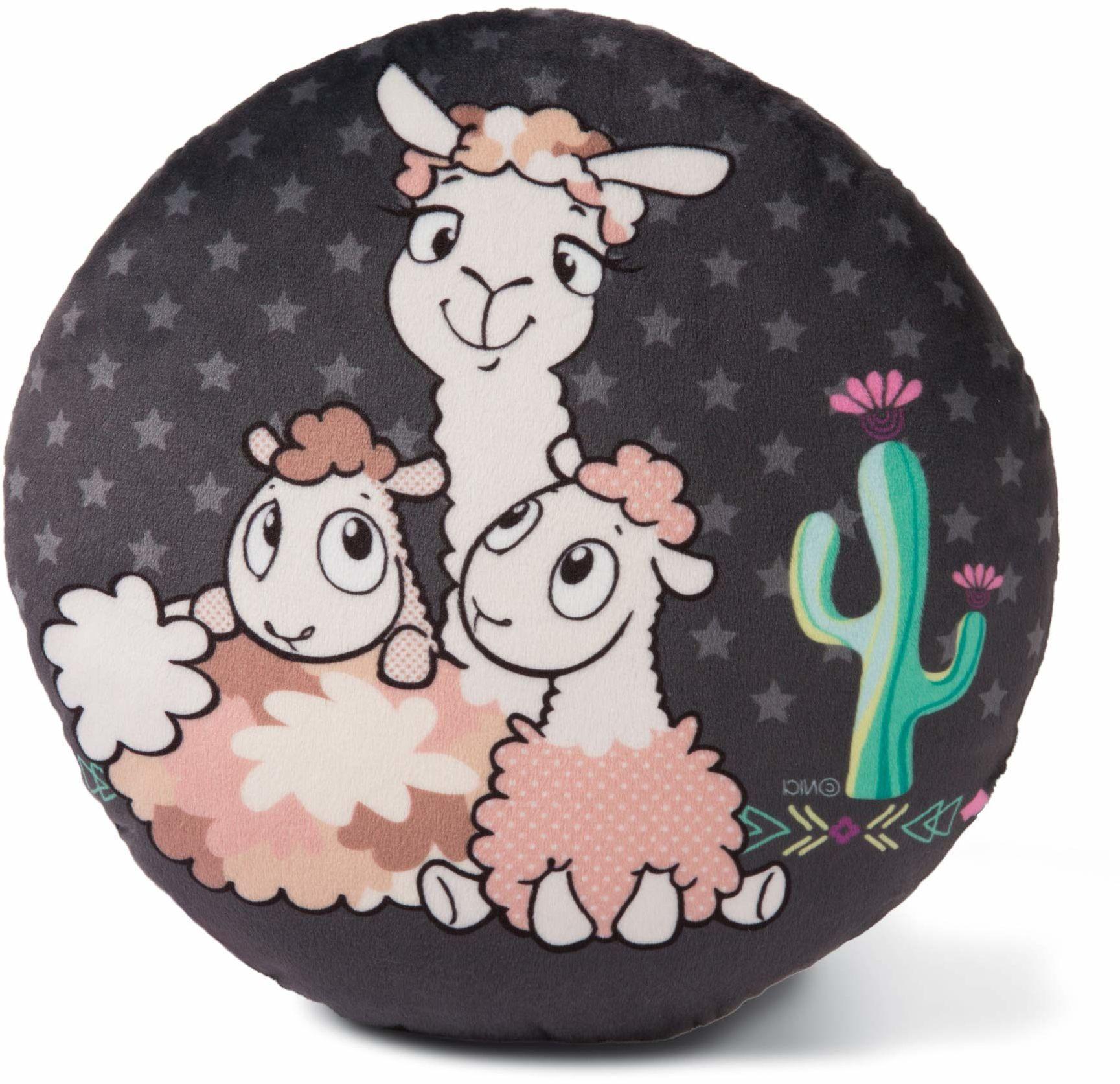 NICI Poduszka przytulanka Lama-Babs, poduszka do przytulania dla chłopców, dziewczynek i niemowląt, puszysty pluszowy zwierzak, przytulna poduszka od 0 miesięcy I 45411, czarna/kolorowa, Ø 28 cm