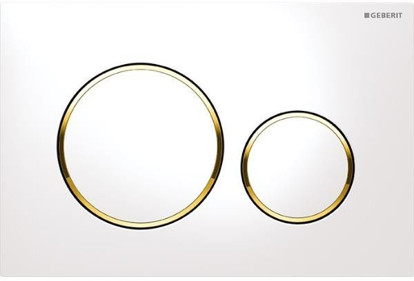 Sigma20 przycisk uruchamiający przedni do spłuczek podtynkowych UP320 biały/złocony/biały - 115.882.KK.1