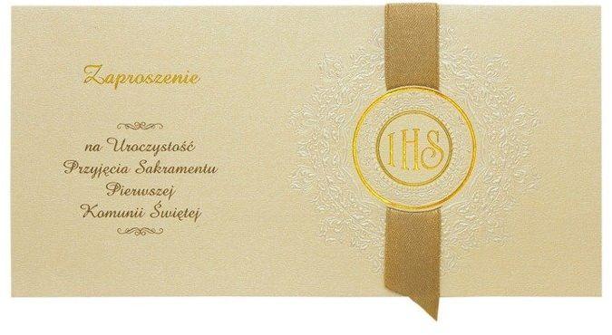 Zaproszenia na Komunię ze złotą wstążką + koperty 10 sztuk ZPK15-10x