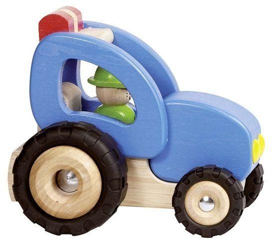 Drewniany traktor z kierowcą, goki