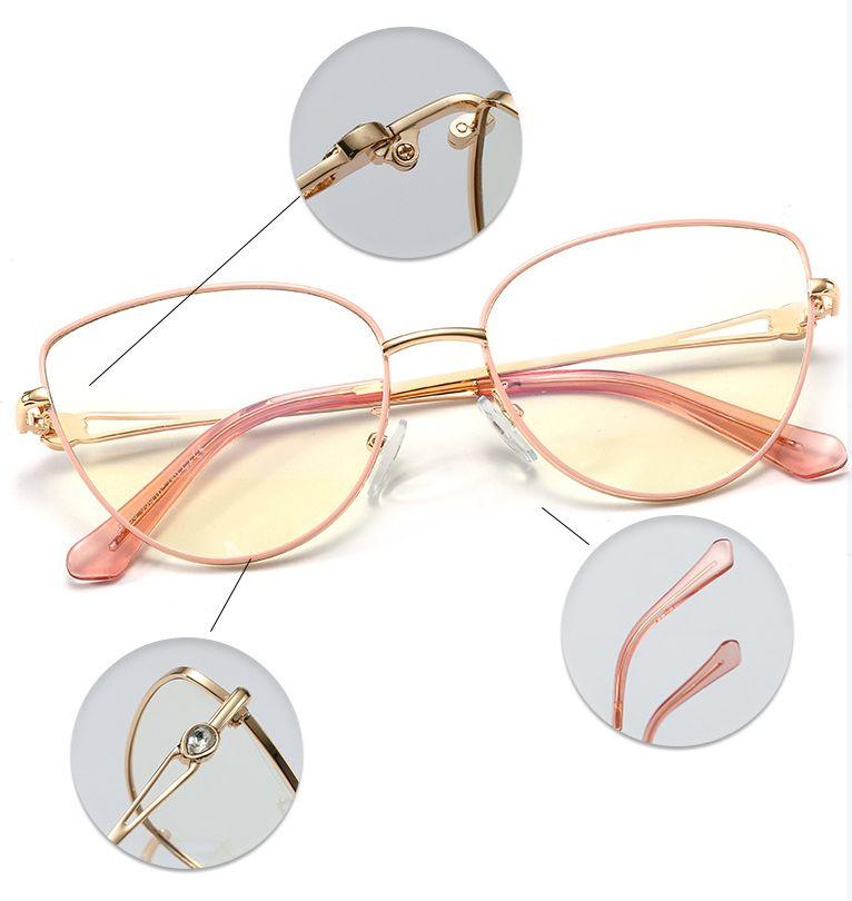 Różowe okulary do komputera Damskie zerówki kocie oczy 2556B